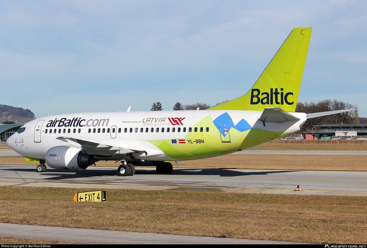 Air Baltic (LV) Boeing 737-522 YL-BBN aircraft, with the sticker ''Official cariear of Latvia Team 2014'' on the airframe, skating at Austria Salzburg W. A. Mozart International Airport. 08/02/2014.