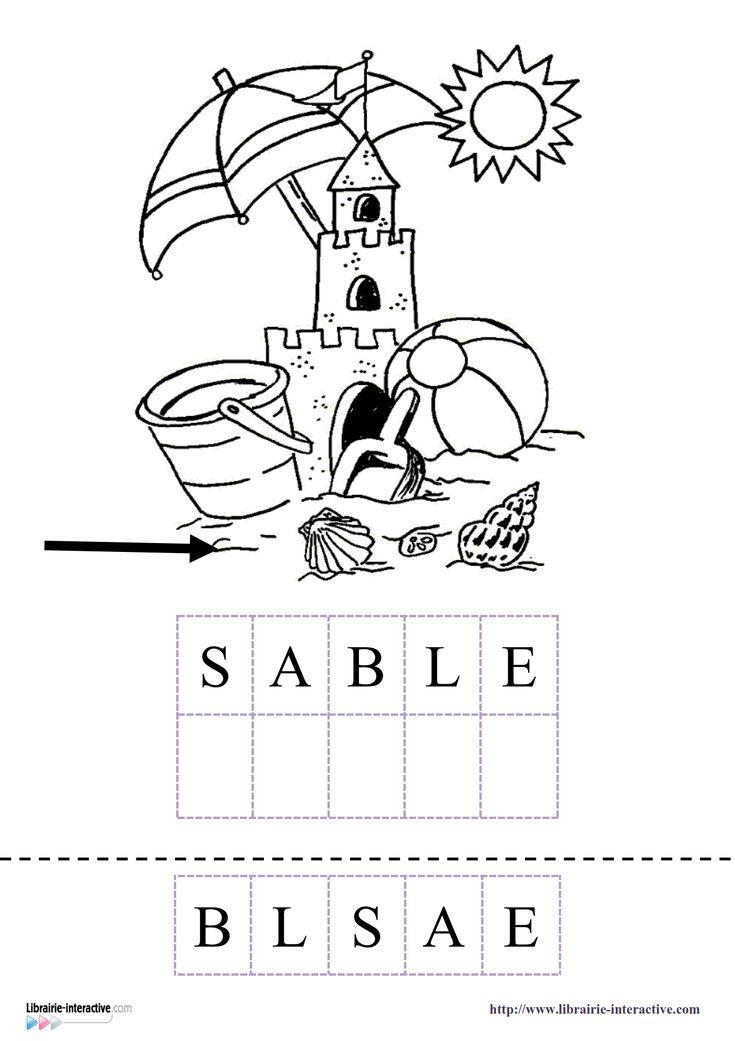 15 fiches pour la maternelle (PS, MS GS) pour découvrir, lire et écrire les mots du vocabulaire de l'été et des vacances (ballon, soleil, château, sable, mer, seau, pelle, parasol, bateau...)