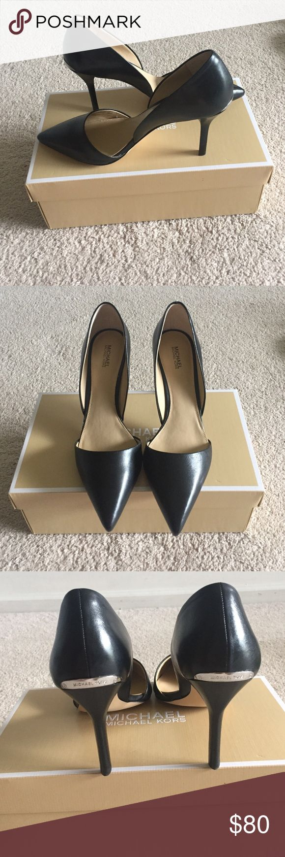 """Mickeal Kors leather Julieta D'orsay 👠 👠 👠 NEW comes with the box. Black leather pointed toes pumps, 3.5"""" heel, size 9.5 M 💕 Michael Kors Shoes Heels"""