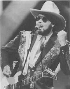 "Hank Jr performing ""Young Country"" at ""The 21st Annual of Country Music Association Awards"" on October 12, 1987."