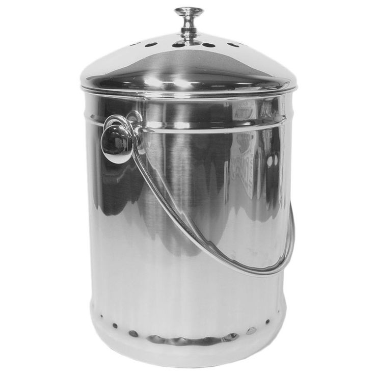 the stainless steel kitchen compost pail is a great option for composting vegetable trimmings and other