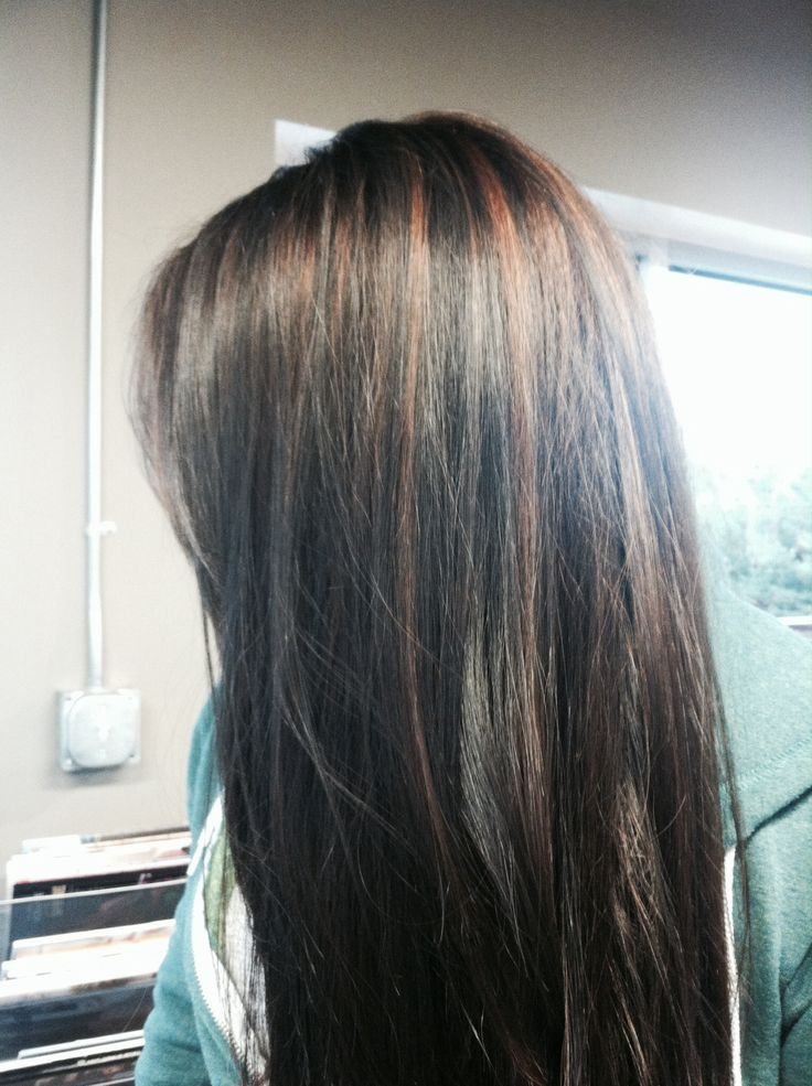 Cinnamon Brown Highlights With Dark Brown Black Hair