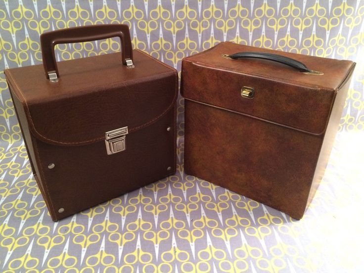 Lot Of 2 Record Bo Brown Leatherette 7 Vinyl Storage Box 45rpm Case Tote