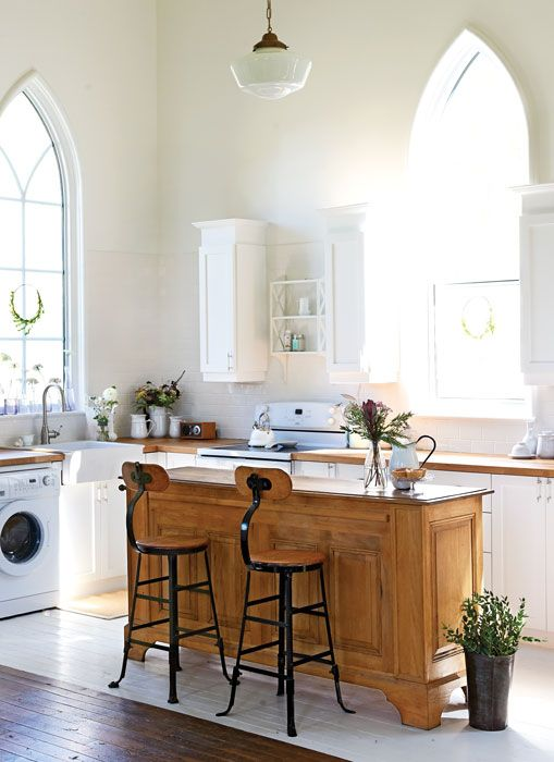 Peek inside a floral designer 39 s gorgeous converted rural church country charm window and - Country kitchen windows ...