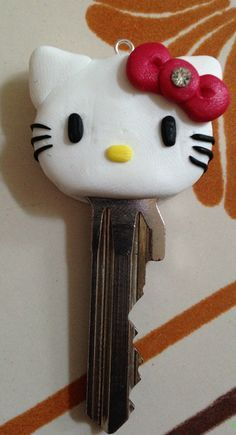 Hello Kitty polymer clay key cap