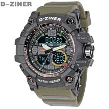 D-ZINER Homens Da Moda Relógios Top Marca de Luxo Quartz Digital LED Homens Relógio Militar Relógios Desportivos À Prova D' Água Relogio masculino