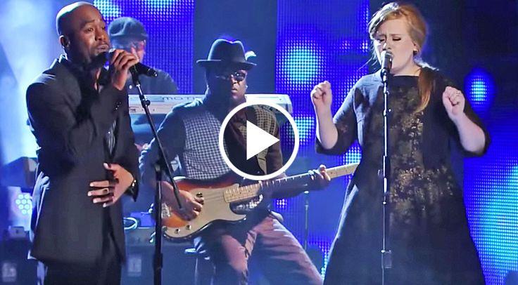 "Adele + Darius Rucker sing Lady Antebellum's ""Need You Now"". VID."
