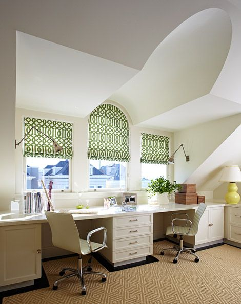 Traditional Home featured another office space that's just lovely.   Sunny, open and white with built-ins and some pops of color in a converted attic space.  (via Traditional Home)
