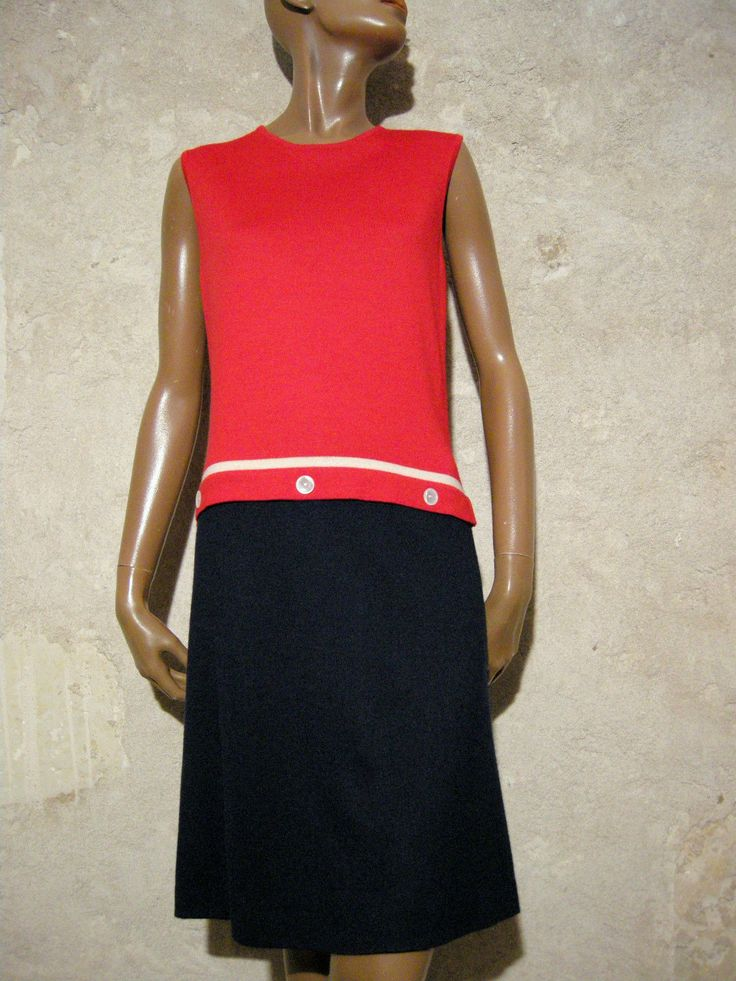 Chic Vintage Robe Jersey 1960 VTG Dress 60s Kleid 60ER Abito Anni 60 38 40 | eBay