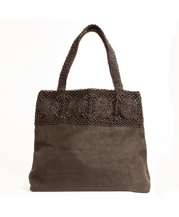 ECO #handbag (pic 3) | Realized with #recycled #plastic and a black veil of #net. #Casual and #elegant. L42xH38xW10cm