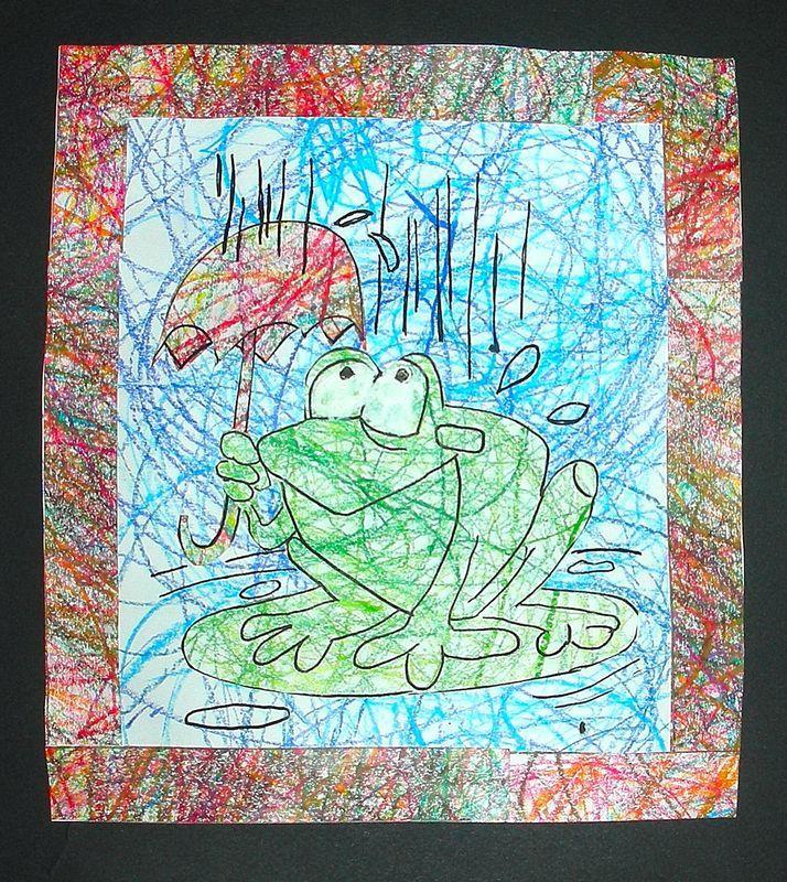 Encore une méthode de coloriage: Grenouille sous la pluie - crayons de couleur