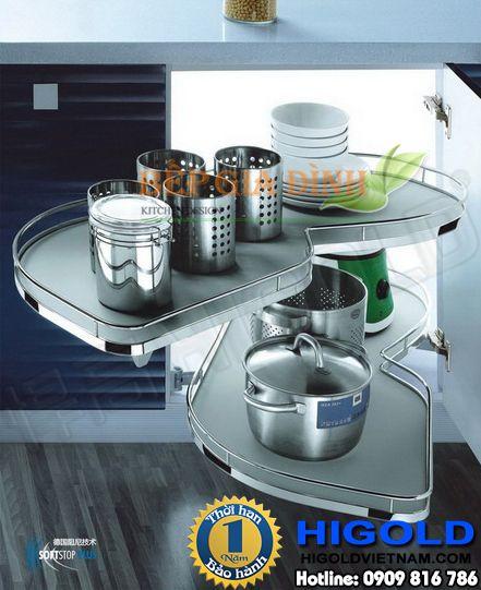 Kệ Inox dạng chiếc lá hai tầng cho góc tủ bếp Higold – 101114