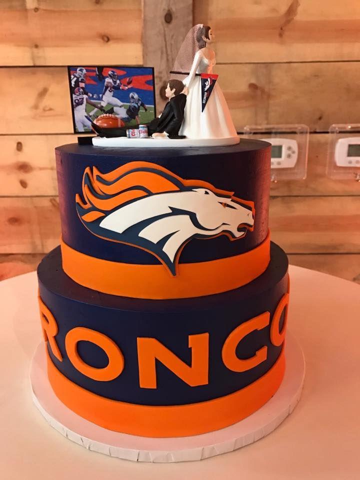 This Denver Broncos #groomscake is so fun!