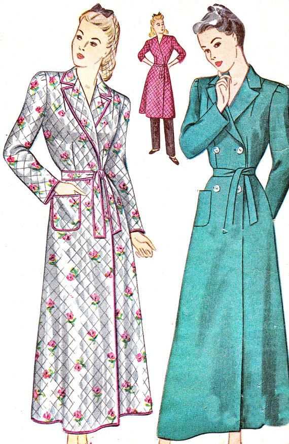 1940s Housecoat Pattern Simplicity 4759 Womens Robe or ...