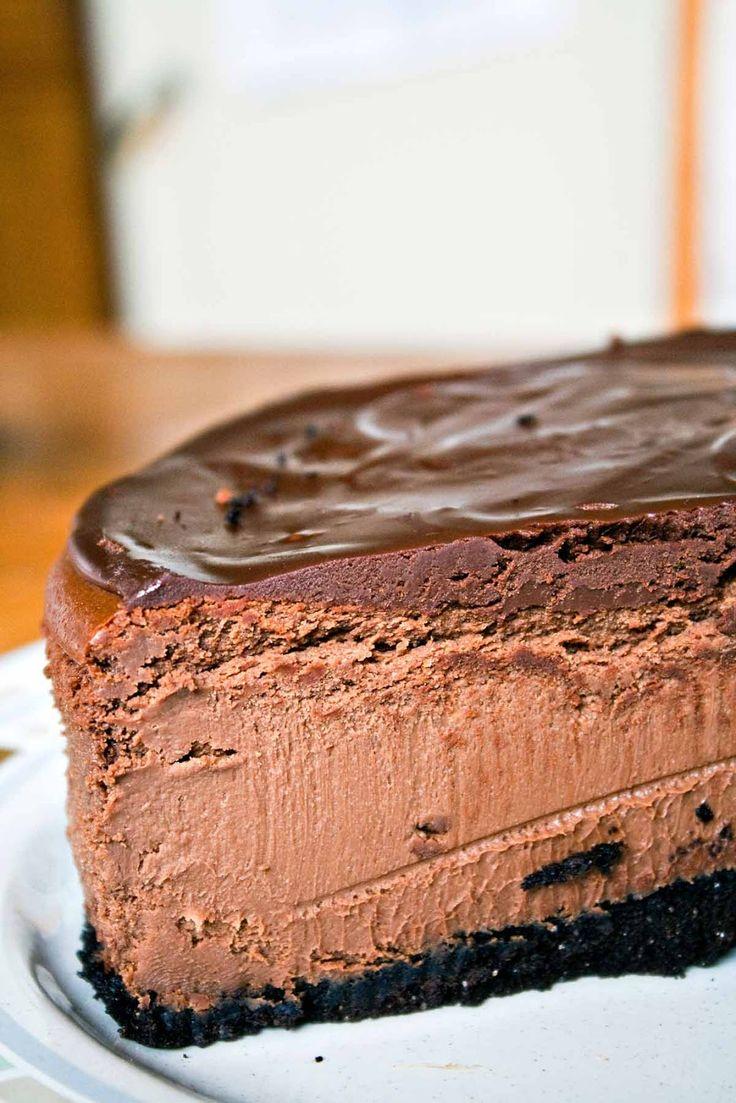 Dark Chocolate Cheesecake: decadent cheesecake covered in rich chocolate ganache.  No water bath necessary! {Bunsen Burner Bakery}