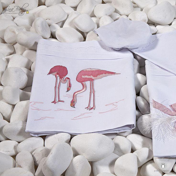"""Λαδόπανο Βάπτισης """"Flamingo"""" Lina Baby 1330"""