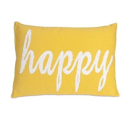 """20"""" Embroidered Lemon Yellow and White """"Happy"""" Decorative Throw Pillow"""