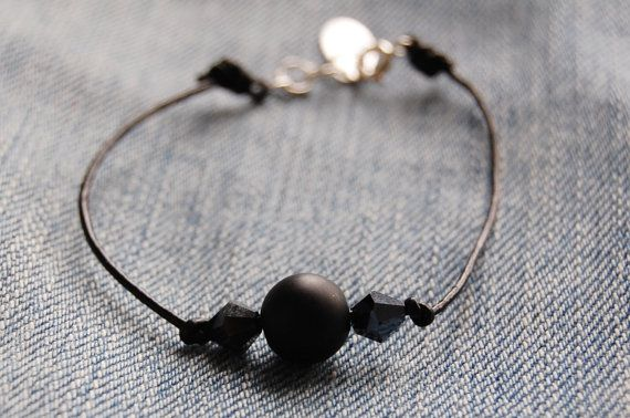 Leather cord bracelet with black beads  black agate by AasJewelry