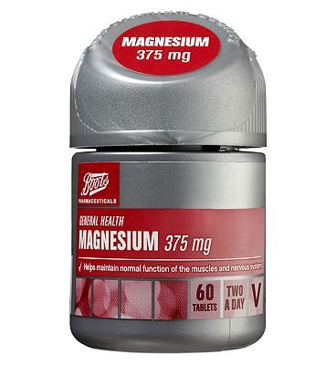 Boots Pharmaceuticals Boots Magnesium 375 mg - 60 2 a day tablets 24 Advantage card points. Boots Magnesium tablets help maintain normal function of the muscles and nervous system FREE Delivery on orders over 45 GBP. (Barcode EAN=5045097769770) http://www.MightGet.com/april-2017-1/boots-pharmaceuticals-boots-magnesium-375-mg--60-2-a-day-tablets.asp