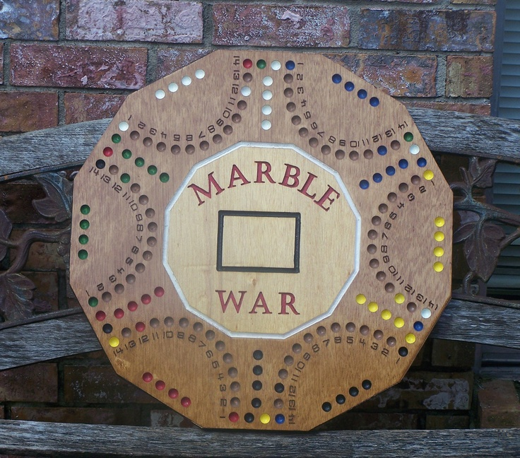 Marble War board game similar to aggravation with playing cards. $125.00, via Etsy.