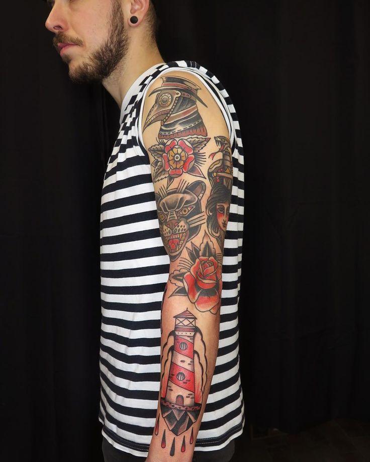 Fresh lighthouse for Tieten. Thanks! Other tattoos healed. #braboshandtattoo  #braboshand #antwerp #antwerptattoo #eutradtattoo #besttradtattoos #real_traditional #loveclassictattoos #real-tattoos #classictattoos #tattooworkers #oldlines  #boldwillhold  #eutradtattoo#tradworkerssubmission