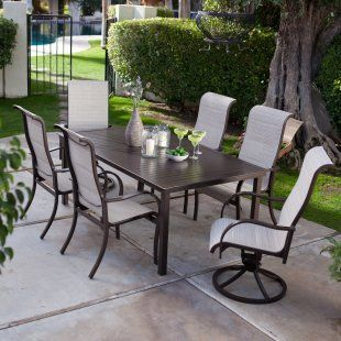 Del Rey Deluxe Padded Sling Aluminum Table Dining Set - Seats 6