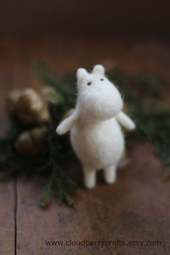 Moomin troll Needle FeltedArt Doll Animal by CloudBerryCrafts
