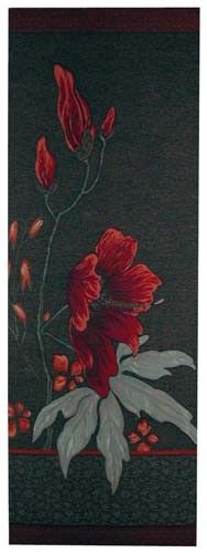"""The Dark Althea tapestry is a tall slim French wallhanging whose wool and cotton weave results in rich depth and pleasing detail of the subtle background. &8""""x29"""", lined with a rod pocket."""