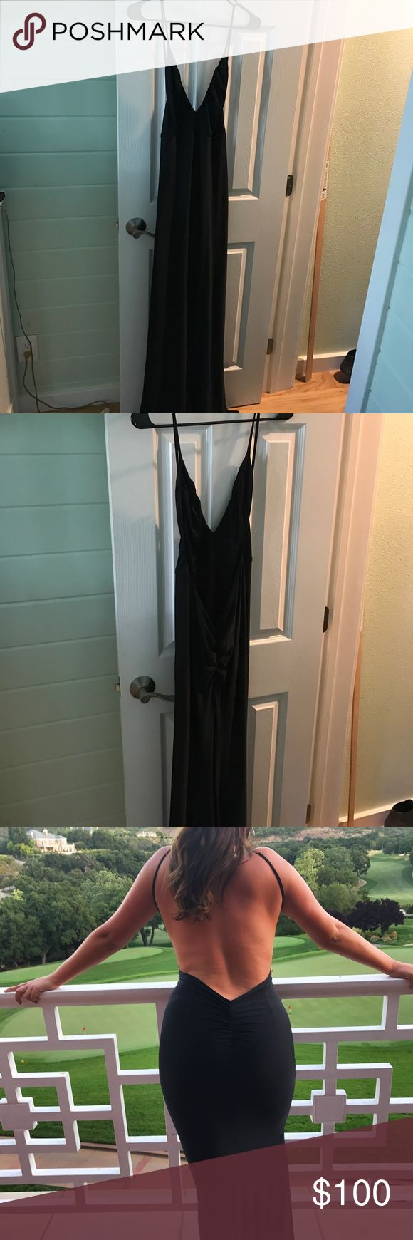Black Prom/Special Occasion Dress Abyss by Abby Unleashed gown in black satin color  stretch satin fabric  back ruching detail  back zipper  linned (worn once) Abyss By Abby Dresses Prom