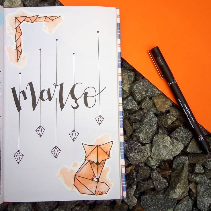 (@bymariel_h_o) Capa do mês de março. Monthly, Bullet Journal Cover, Watercolor Geometric Fox, Raposa geométrica em aquarela, diamantes, diamonds,...
