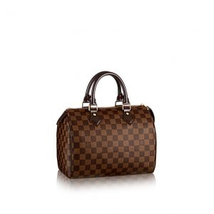 "Envoged | Shop Louis Vuitton Authentic Louis Vuitton Damier Ebene canvas Speedy 25 handbag. Features gold-tone hardware, smooth brown leather trim and accents, dual rolled leather top handles (3.5"" drop), and a top zipper closure with brown leather zipper pull."
