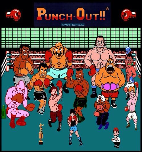 Top row: Mr. Sandman, Bald Bull, Super Macho Man. Middle row: Soda Popinski, Piston Honda, Mike Tyson, King Hippo, Don Flamenco. Bottom: trophy, Von Kaiser, Little Mac (the hero), Great Tiger, Mario (the referee), Glass Joe.