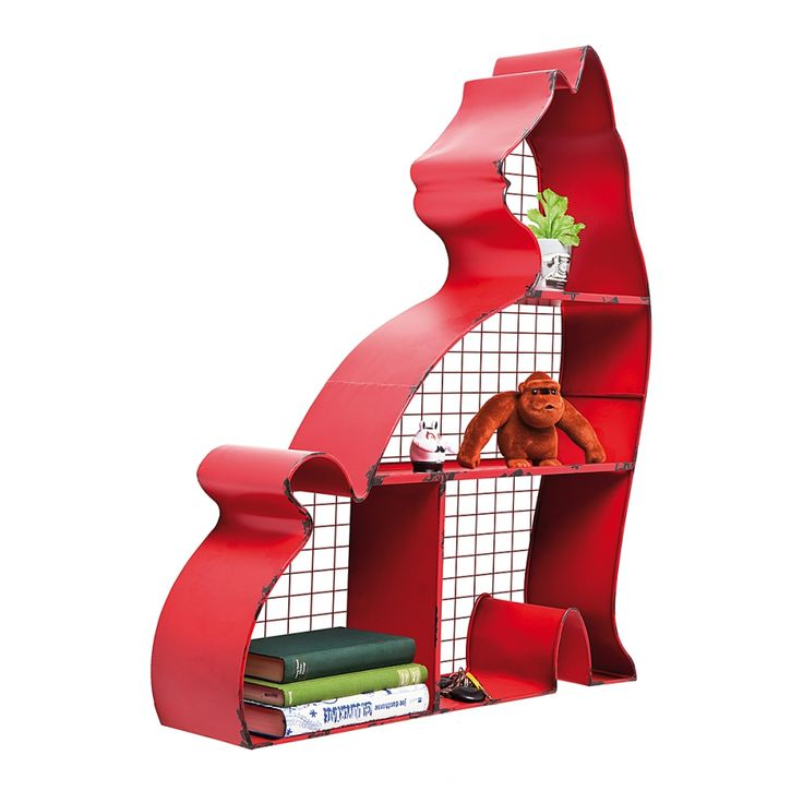 Wandregal Katze - Eisen Rot