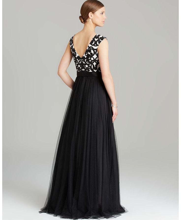 Aidan Mattox Gown - Cap Sleeve Printed Tulle Skirt   Bloomingdales's