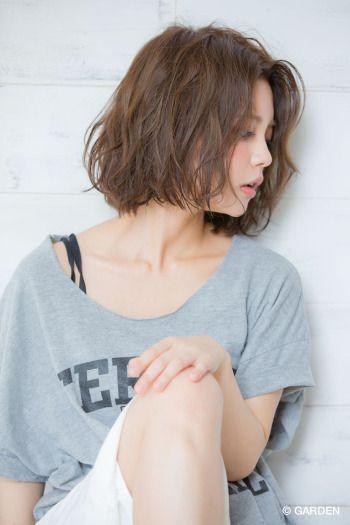 『joemi』前上がりボブ♪×ゆるふわ水パーマ♪×クラウンベージュ♪ | GARDEN HAIR CATALOG | 原宿 表参道 銀座 美容室 ヘアサロン ガーデン