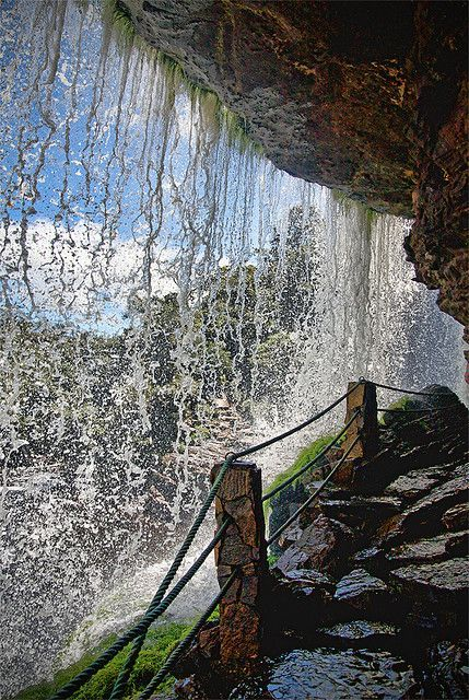 behind the waterfall, Canaima National Park, Venezuela www.facebook.com/loveswish