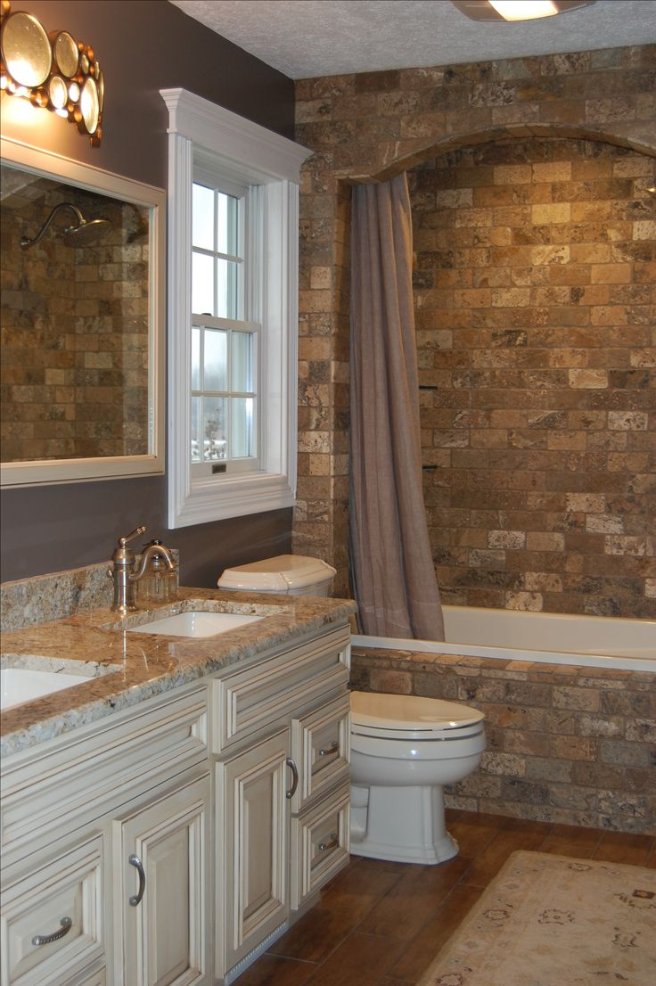 Rustic master bathroom with log walls amp undermount sink zillow digs - Brick Along Vanity Wall And Extend Into An Arch That Incloses Shower