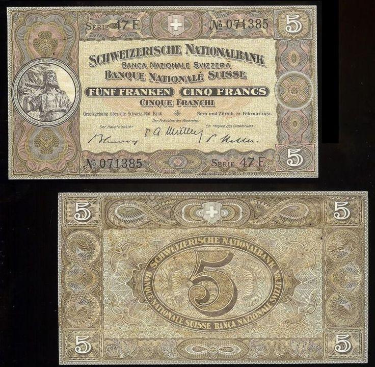 Banknote: Switzerland P-11O Schweizerische Nationalbank 5 Franken/Francs 22.2.1951 Ef