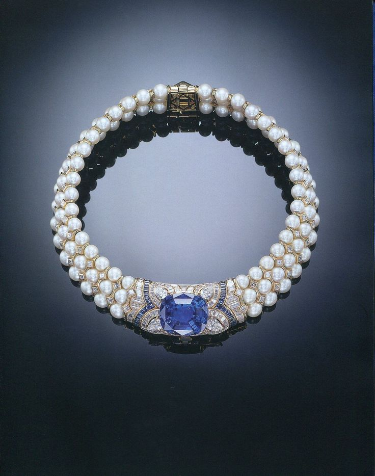 AN IMPRESSIVE SAPPHIRE, DIAMOND AND CULTURED PEARL CHOKER NECKLACE,BY BULGARI