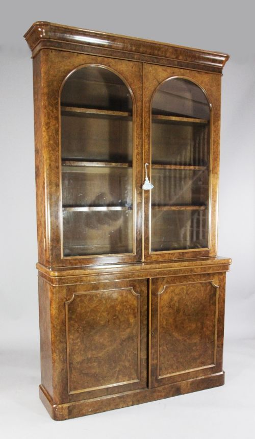 Burr walnut bookcase c 1860 http www loveantiques walnut bookcaseantique