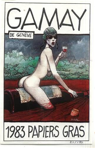 Enki BILAL label, gepubliceerd in 180 exemplaren door de bibliotheek PAPIEREN GRAS voor een GAMAY Genève 1983