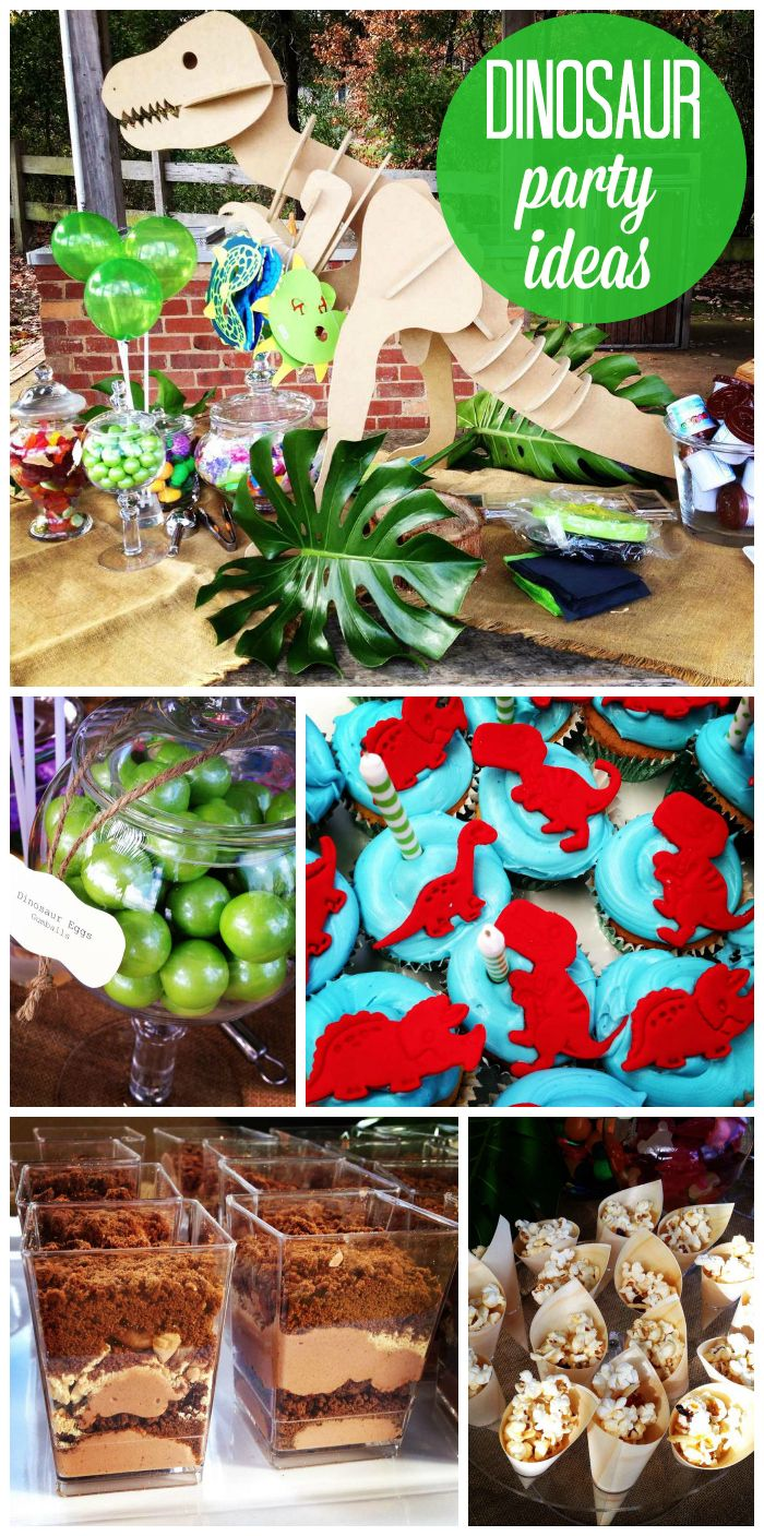 """A dinosaur boy birthday party with layered """"dirt"""" desserts, cupcakes, popcorn and awesome party decorations!  See more party ideas at CatchMyParty.com!"""