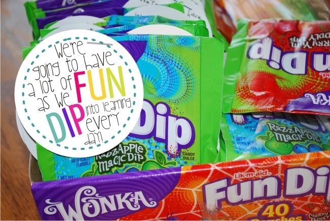 Teach Junkie: 31 creative back to school treats for students {printables} - Fun Dip Treat Tags