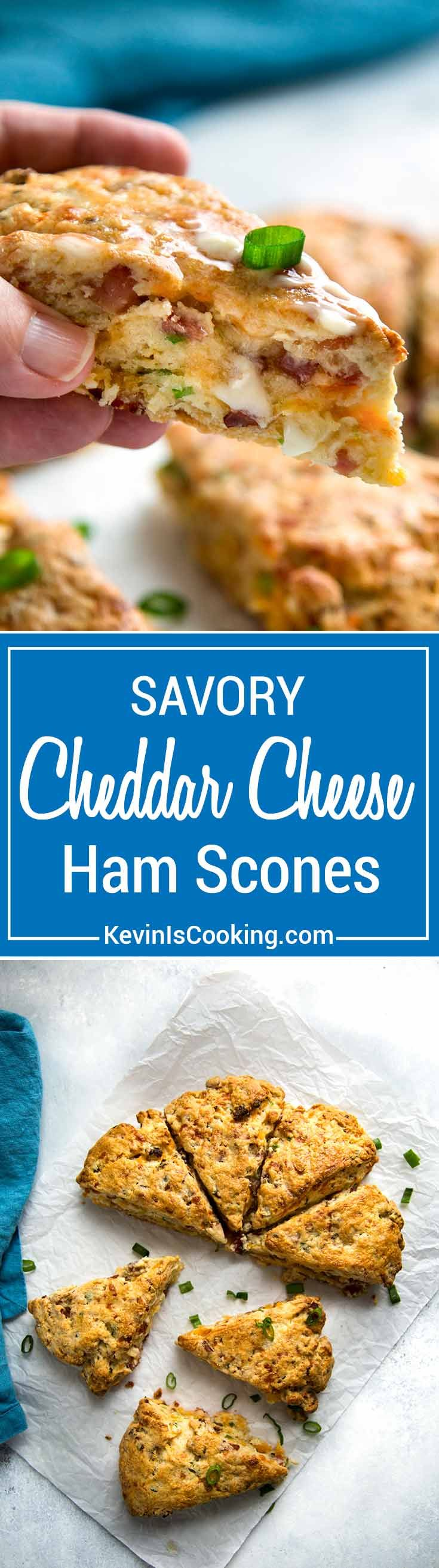 Warm, tender and flakey, these Ham and Cheese Scones make the most of any leftover holiday ham made with cheddar cheese and green onions for one savory scone!  via @keviniscooking