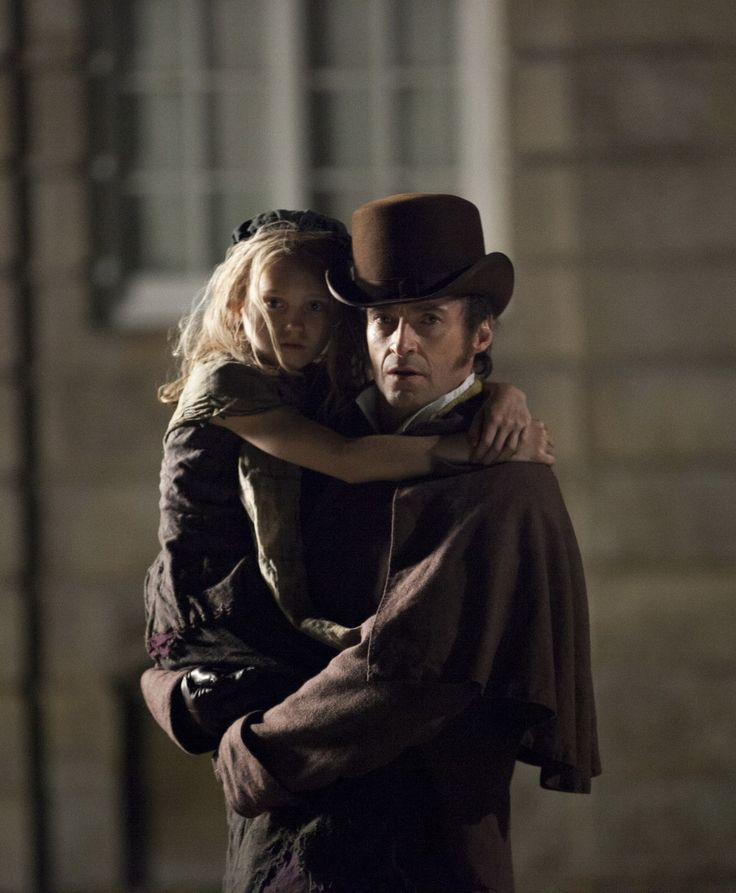 young Cosette (Isabelle Allen) and Valjean (Hugh Jackman), Les Miserables movie