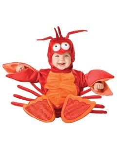 No it's not Halloween, but this adorable infant lobster costume makes a perfect photo party invitation and keepsake for an under the sea, ocean first birthday party. Decorate with tropical fish and other ocean creatures and First Birthday Preppy Girl or Boy party supplies.  Such fun!