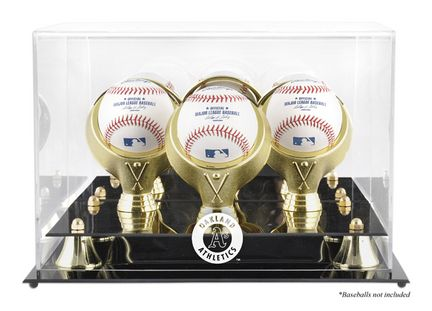Golden Classic 3-Baseball Display Case with Oakland Athletics Logo: The Oakland Athletics logo is engraved on the acrylic… #onlinesports