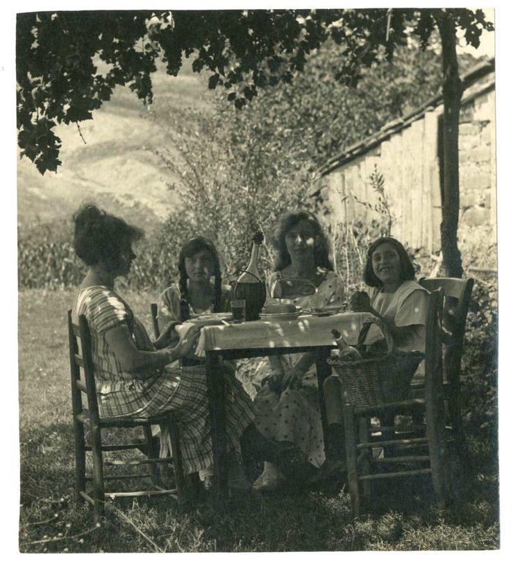 DONNE A TAVOLA.IL PRANZO.Vecchia Foto d Epoca Old Photo 1920 Vintage.Moda.F258