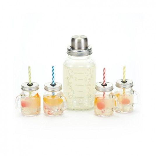 Szklany shaker + 4 minisłoiki z uchwytem