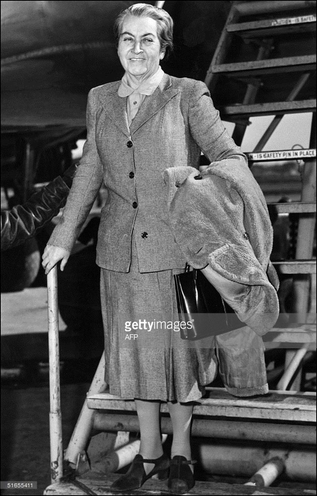 Chilean writer Gabriela Mistral, enroute to Chile arrives at La Guardia AIrport, New York 10 March 1946, when returning from London where she received the Litterature Nobel Award. Gabriela Mistral was also educationalist and diplomat. She was born Lucila Godoy De Alcayaga in 1889 and died in 1957. (Photo credit should read AFP/AFP/Getty Images)